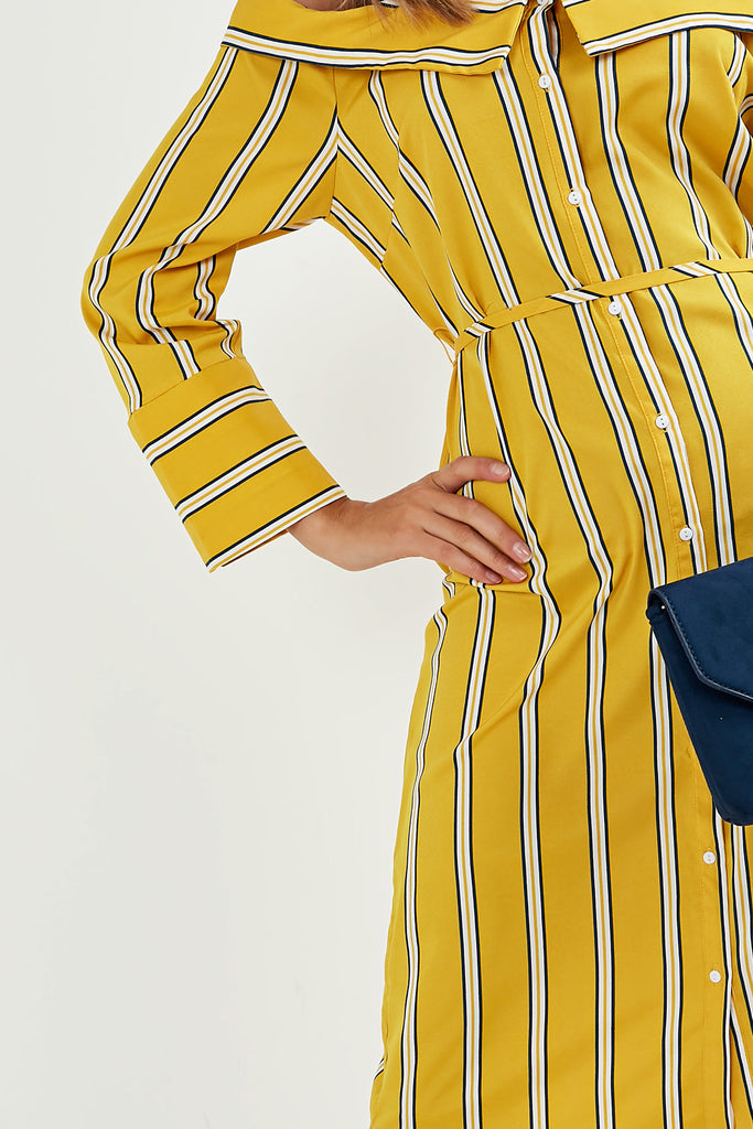 Emilia Yellow Striped Cold Shoulder Shirt Dress