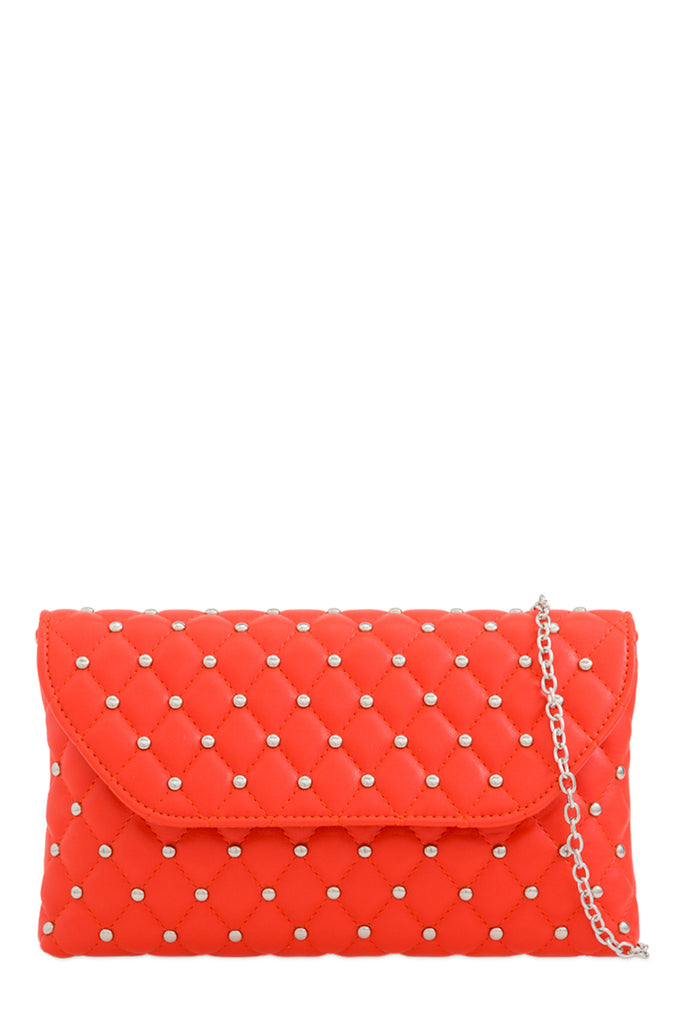 Emily Orange Studded Clutch Bag