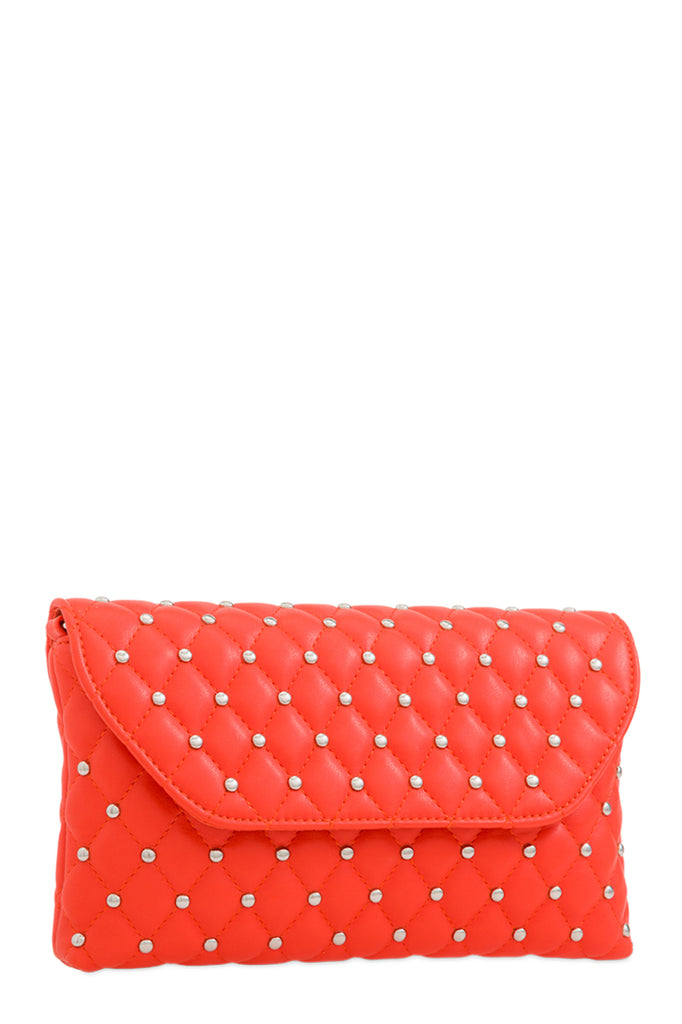 Emily Orange Studded Clutch Bag (88475729936)