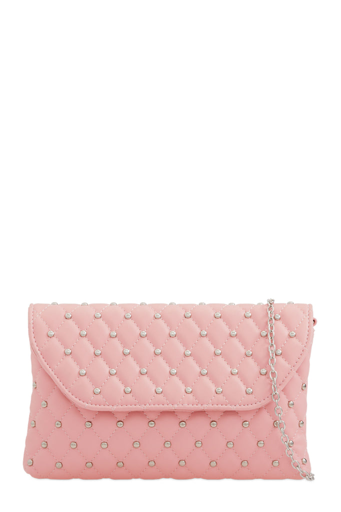 Emily Pink Studded Clutch Bag