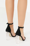 Emma Black Perspex Heel Sandals