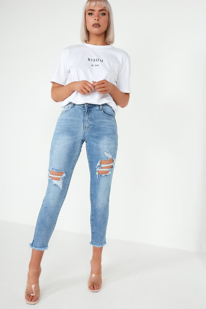Emma Blue Distressed Mom Jeans