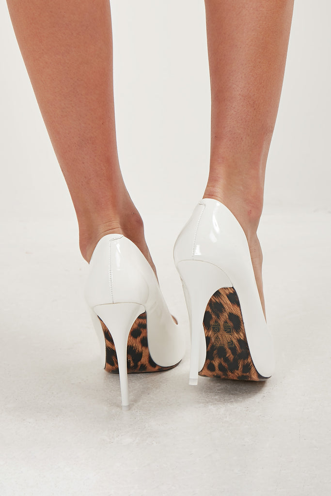Emmie White Patent Court Shoes