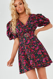 Emmy Purple Floral Buckle Belt Dress