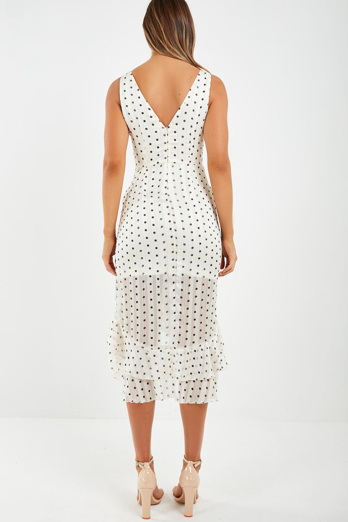 Emsley Cream Polka Dot Frill Hem Dress