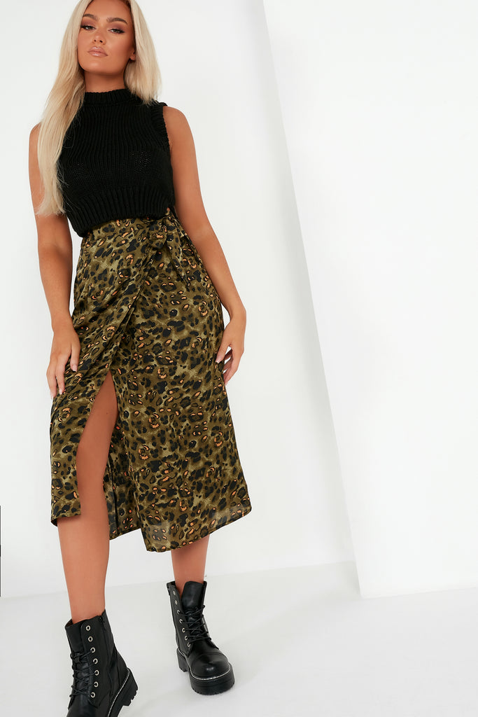 Emsley Green Animal Print Wrap Skirt