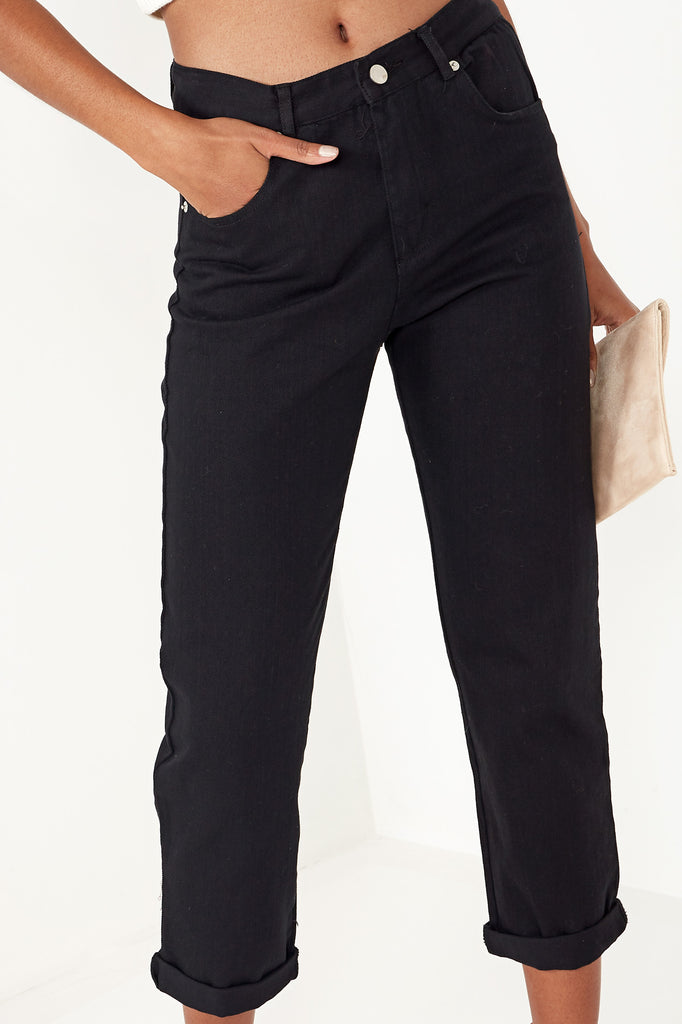 Ena Black Turn Up Mom Jeans (1538976448578)