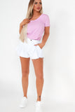 Ena White Frayed Hem Denim Shorts