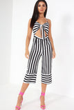 Erina Monochrome Striped Cut Out Jumpsuit