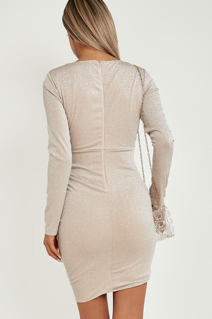 Erma Champagne Glitter Wrap Over Dress