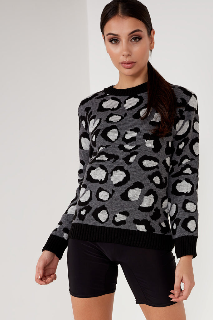 Esma Grey Animal Print Knit Jumper