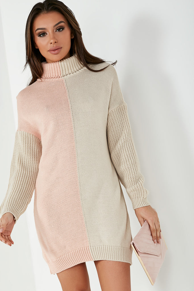 Esme Pink & Stone Knit Jumper Dress