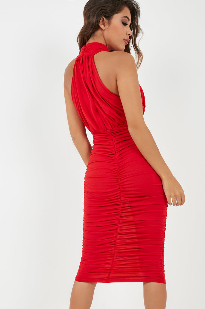 Esra Red High Neck Ruched Dress (1996643205186)