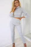 Essie Grey Knitted Roll Neck Trouser Co Ord