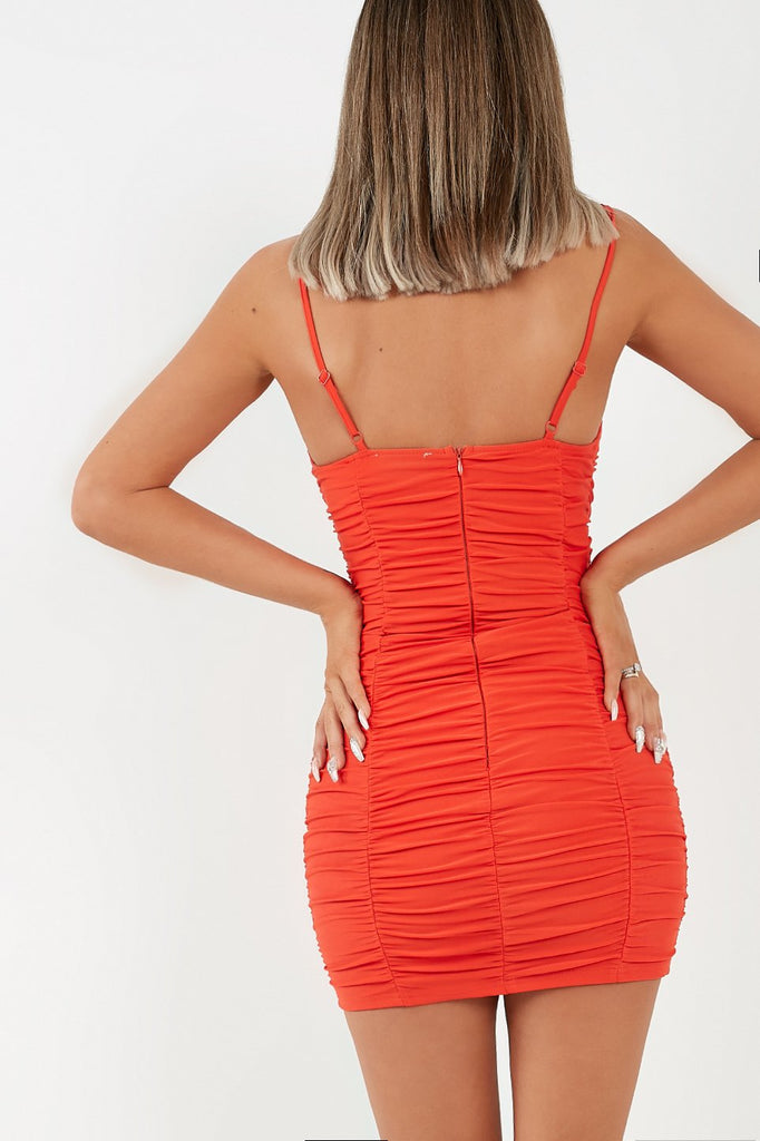Essie Red Ruched Slinky Bodycon Dress
