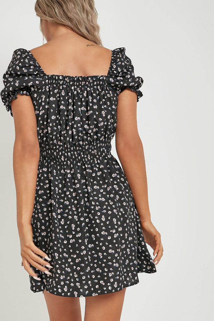 Esta Black Floral Print Puff Sleeve Dress