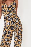Estella Mustard Animal Print Cami Jumpsuit
