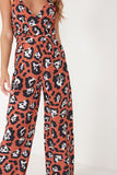 Estella Rust Animal Print Cami Jumpsuit