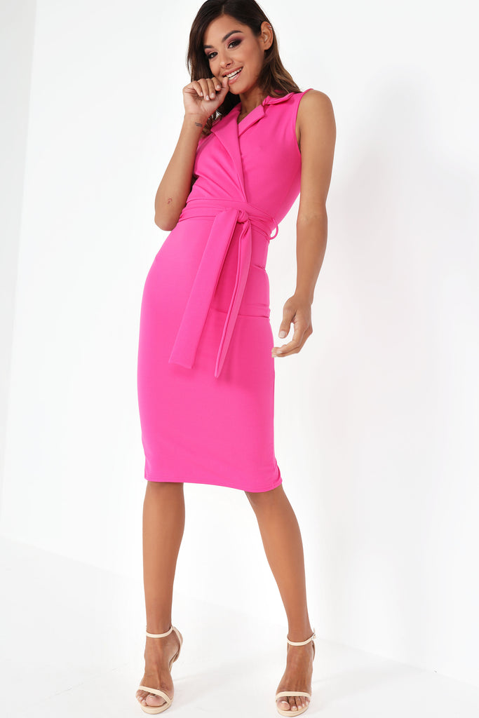 Estelle Pink Tuxedo Dress