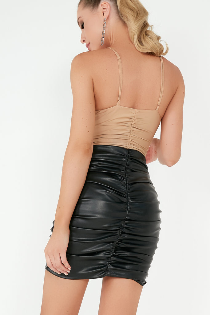 Ester Black Leatherette Ruched Mini Skirt