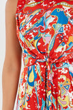 Ethel Red Printed Knot Front Playsuit