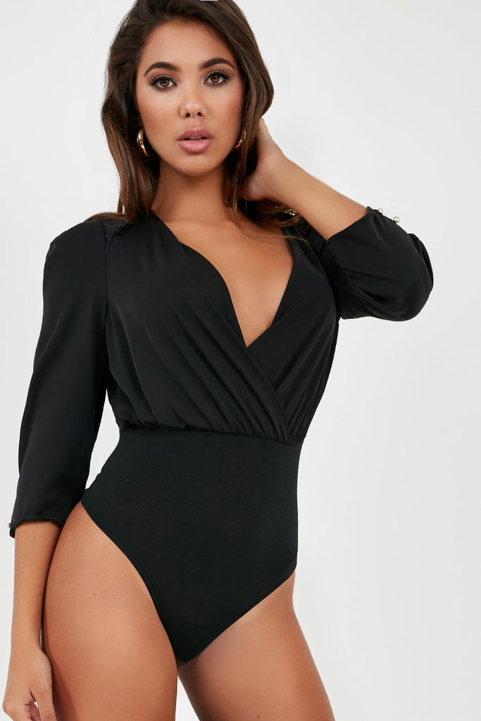 Ethna Black Wrap Over Bodysuit (2000387080258)