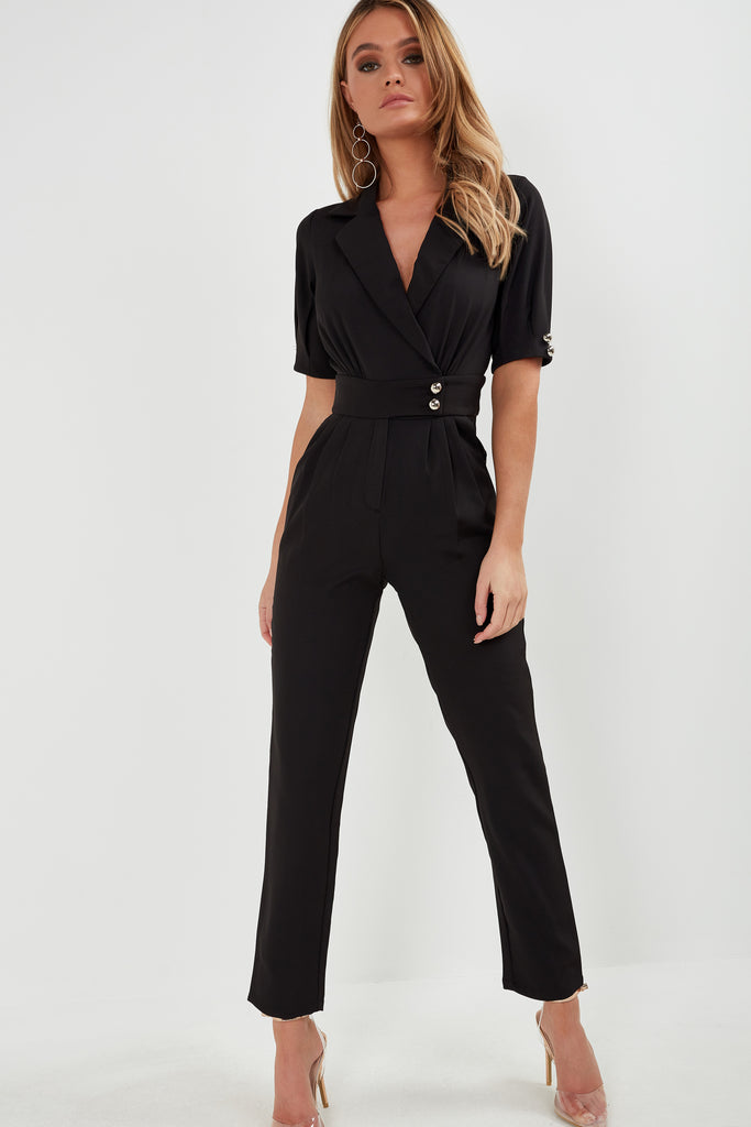Etta Black Wrap Front Jumpsuit