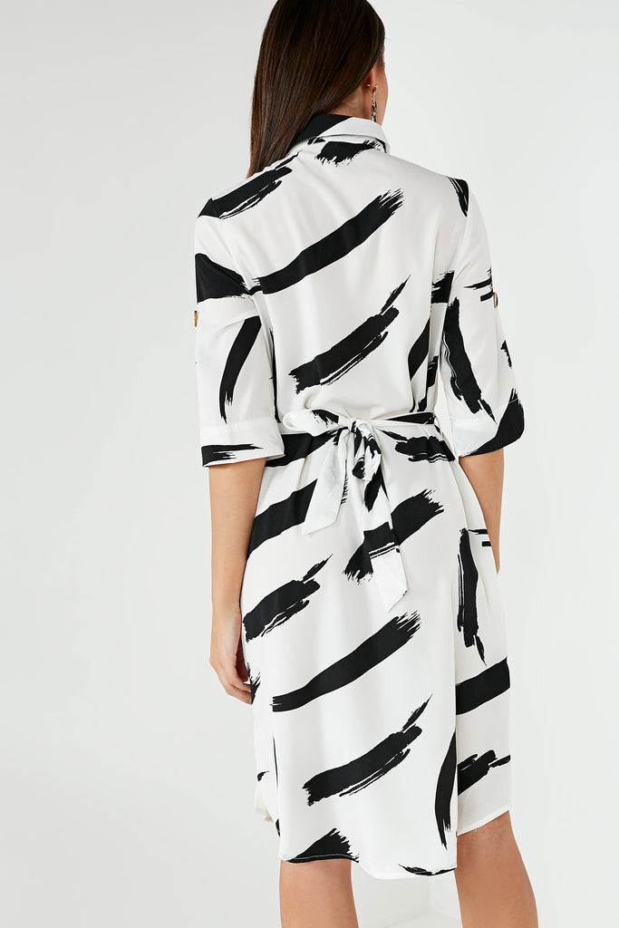 Eugenie Mono Splatter Print Shirt Dress
