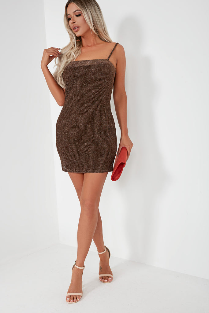 Eura Brown Glitter Ribbed Mini Dress