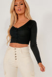 Eva Black Ribbed V Neck Button Crop Top