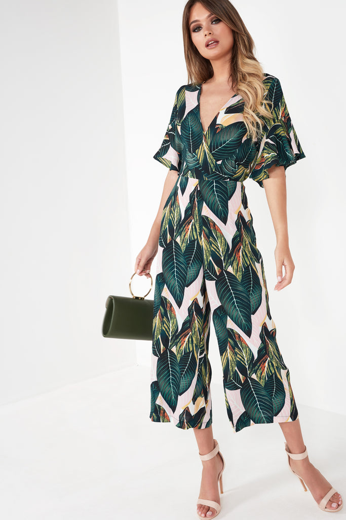 0553d31920 Eva Green Leaf Print Jumpsuit