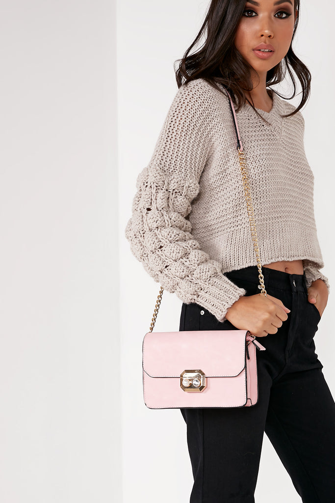 Eva Pink Leatherette Chain Strap Bag (88476876816)