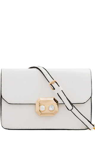 Eva White Leatherette Chain Strap Bag