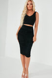 Eve Black Ruched Bandeau Skirt