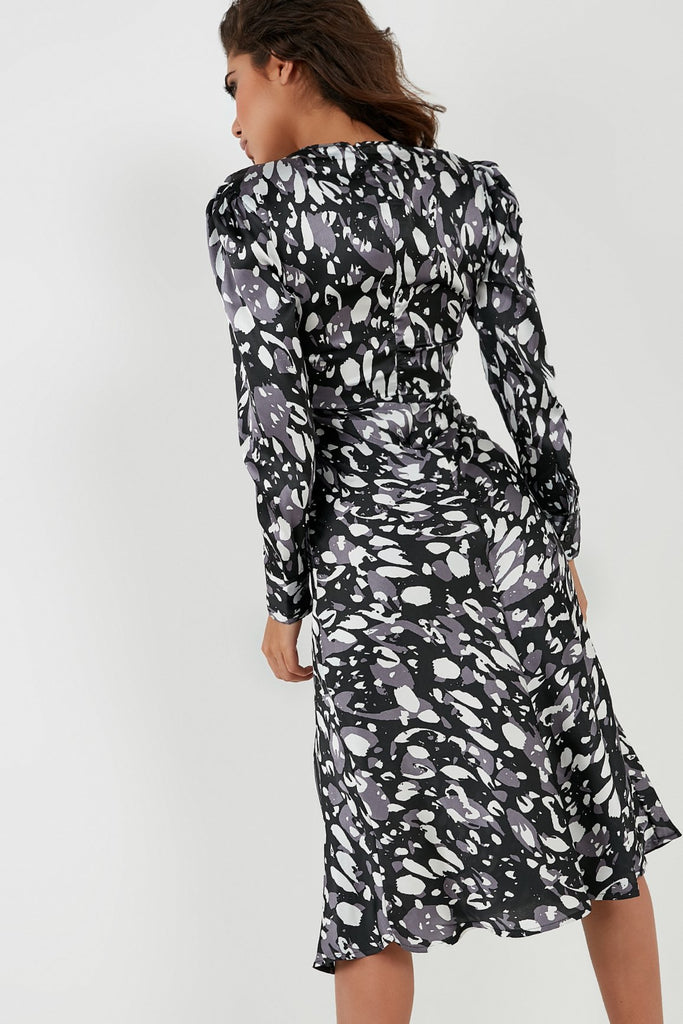Evelyn Black and Grey Abstract Print Tie Front Dress (4360624930882)