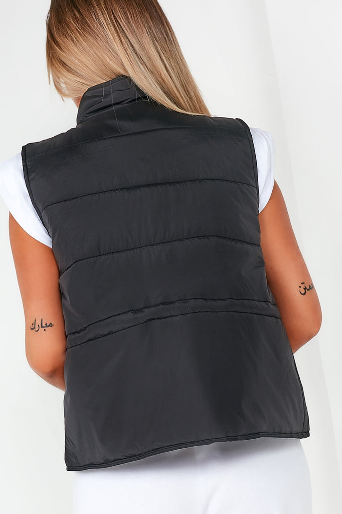 Everly Black Puffer Utility Gilet