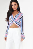 Everly Light Blue Striped Crop Shirt