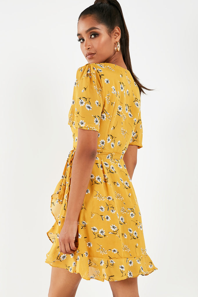 Evette Mustard Floral Wrap Dress
