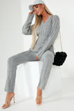Evie Grey V Neck Trousers Co Ord