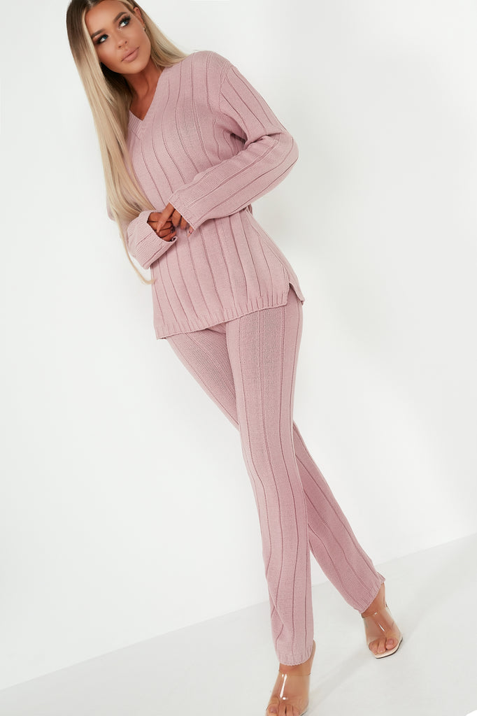 Evie Pink V Neck Trousers Co Ord