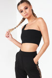 Fabio Black One Shoulder Crop Top