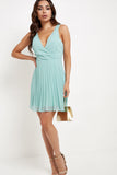 Fable Duck Egg Pleated Mini Dress