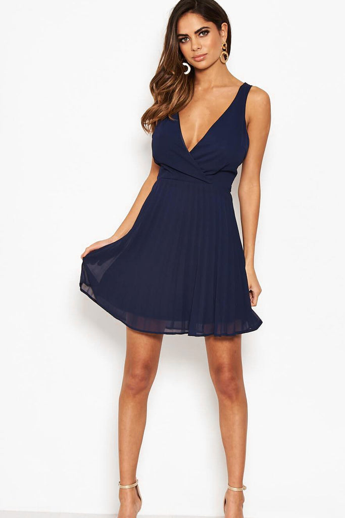 Fable Navy Pleated Mini Dress