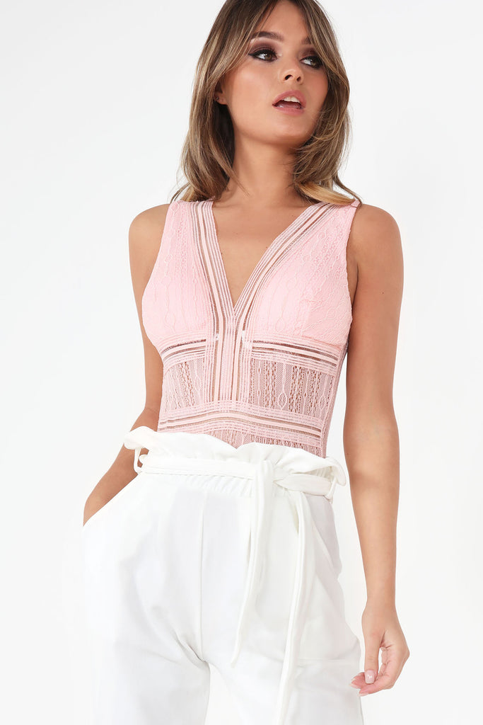 Fable Pink Lace Panel Sleeveless Bodysuit