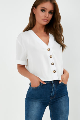 b8291cd401395 Fadel White Button Front Top