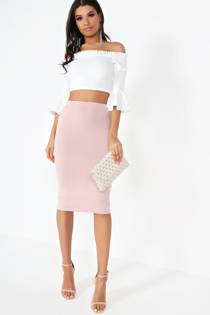 Fagen Pink Stretch Midi Skirt