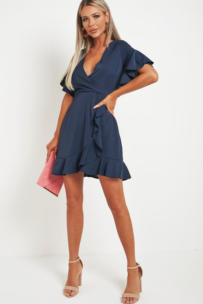 Falco Navy Frill Sleeve Wrap Dress