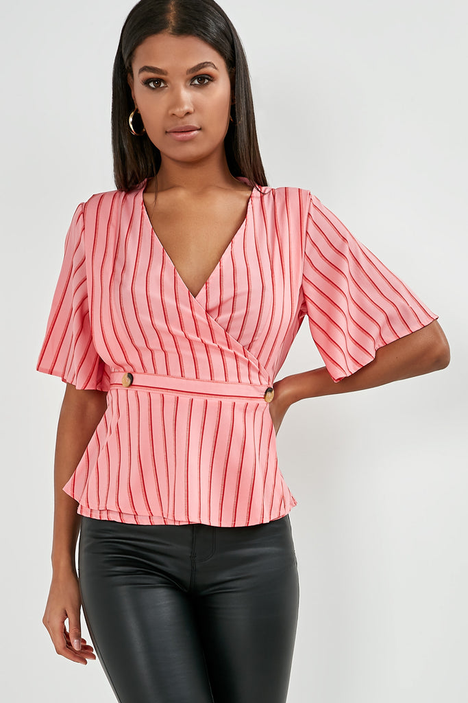 Falco Pink And Red Stripe Wrap Top