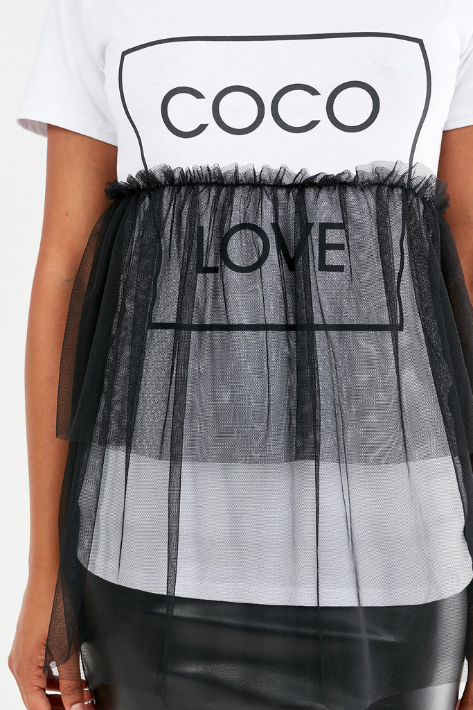 Falco White and Black Mesh Frill Top