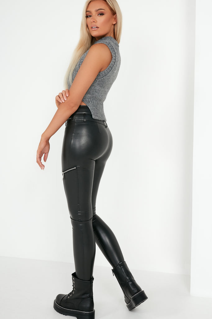 Fallyn Black High Waist Zip Detail Leggings